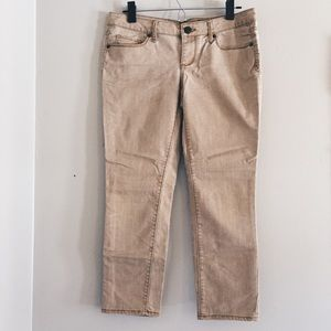 tan / khaki cropped ankle jeans pants 7 / 28/29